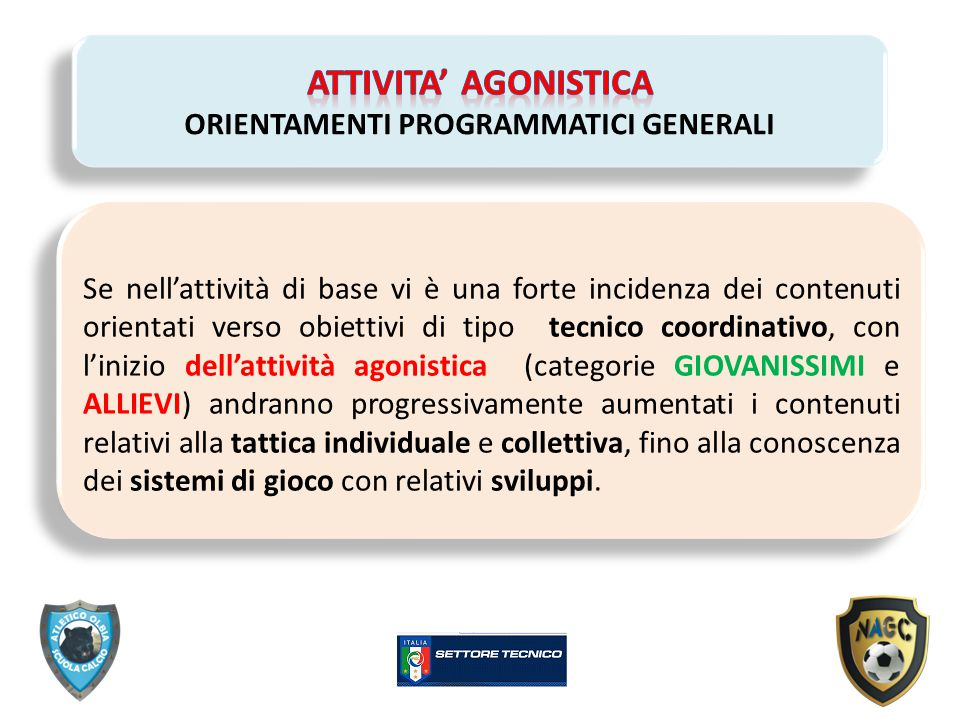 ATTIVITA' AGONISTICA ORIENTAMENTI PROGRAMMATICI GENERALI