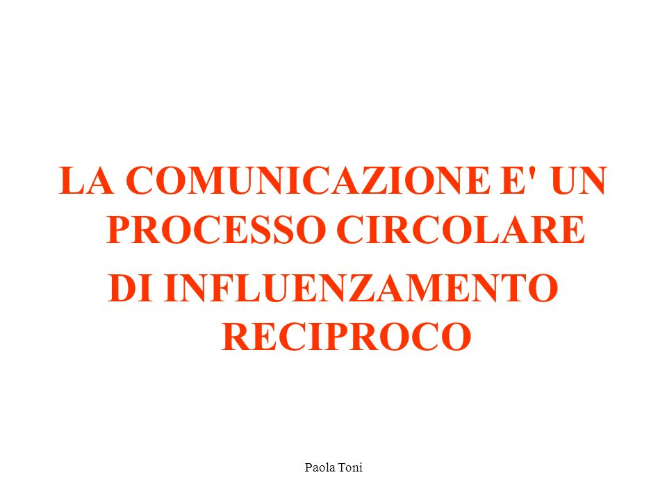 LA COMUNICAZIONE E UN PROCESSO CIRCOLARE