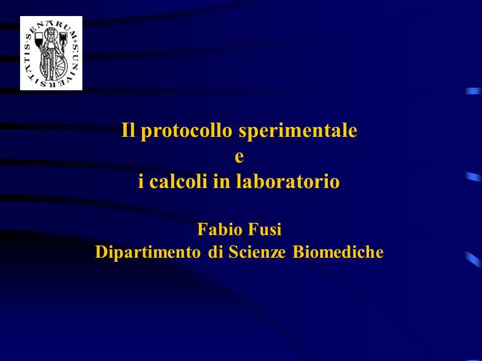 Il protocollo sperimentale e i calcoli in laboratorio