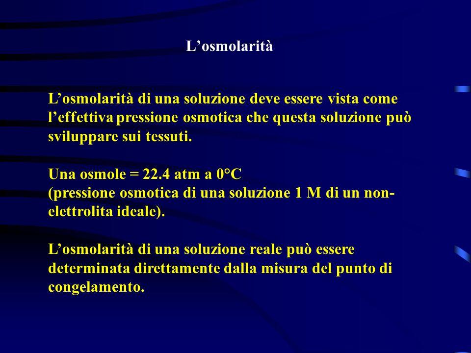 L'osmolarità L'osmolarità di una soluzione deve essere vista come l'effettiva pressione osmotica che questa soluzione può sviluppare sui tessuti.