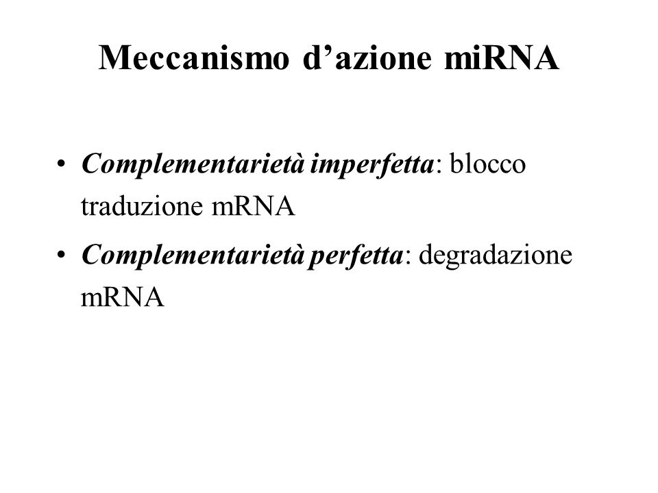 Meccanismo d'azione miRNA