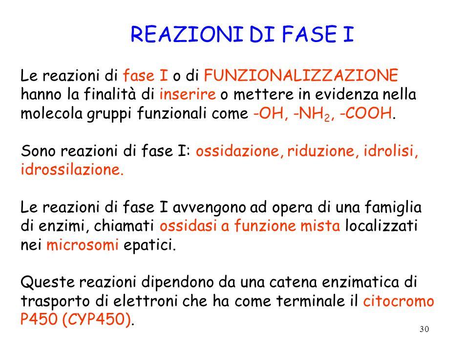 REAZIONI DI FASE I Le reazioni di fase I o di FUNZIONALIZZAZIONE