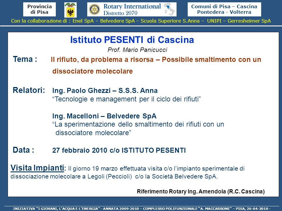 Comuni di Pisa – Cascina Pontedera - Volterra