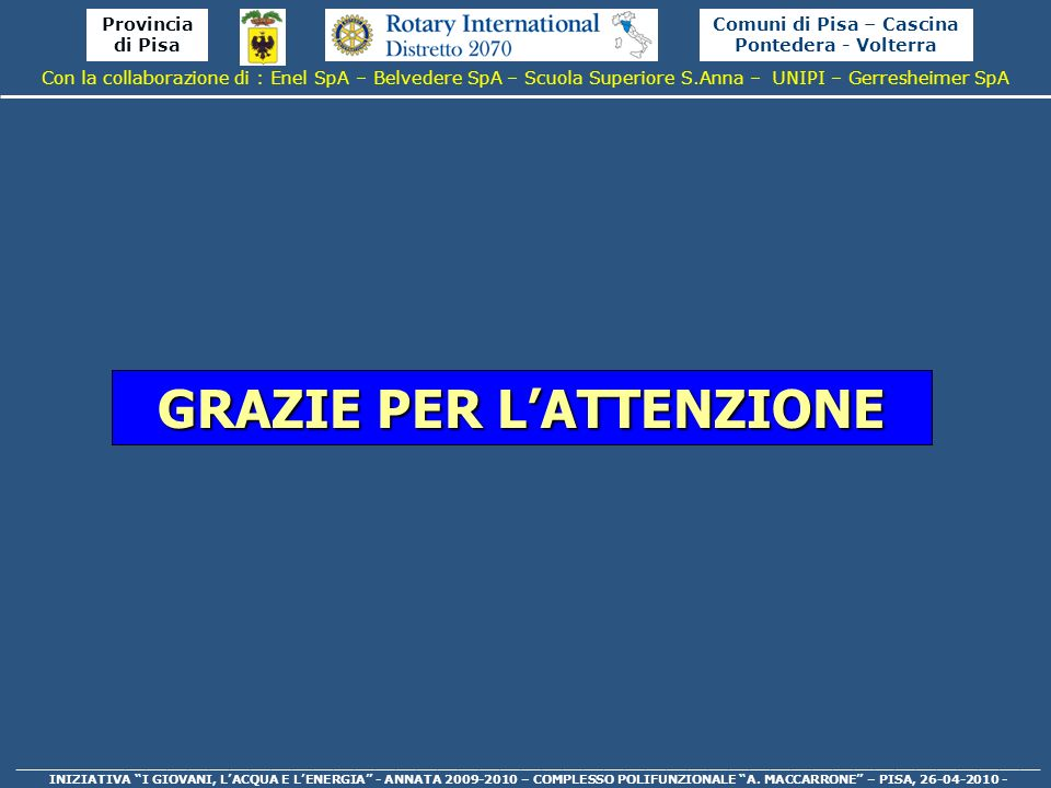 Comuni di Pisa – Cascina Pontedera - Volterra GRAZIE PER L'ATTENZIONE