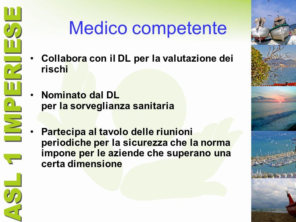 Medico competente Collabora con il DL per la valutazione dei rischi