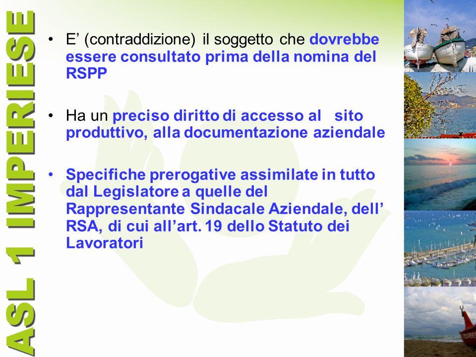 E' (contraddizione) il soggetto che dovrebbe essere consultato prima della nomina del RSPP