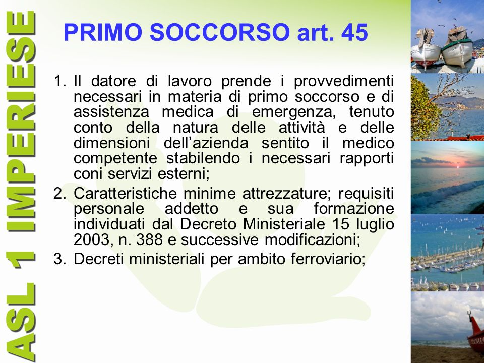 PRIMO SOCCORSO art. 45