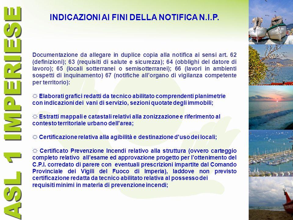 INDICAZIONI AI FINI DELLA NOTIFICA N.I.P.