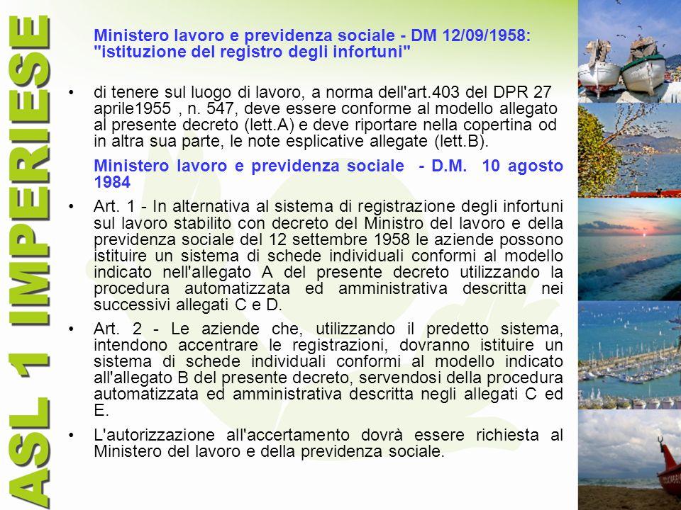 Ministero lavoro e previdenza sociale - DM 12/09/1958: istituzione del registro degli infortuni