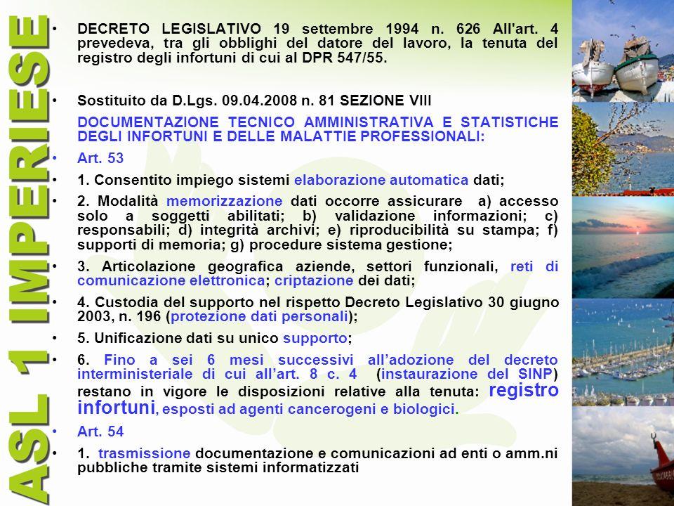 DECRETO LEGISLATIVO 19 settembre 1994 n. 626 All art