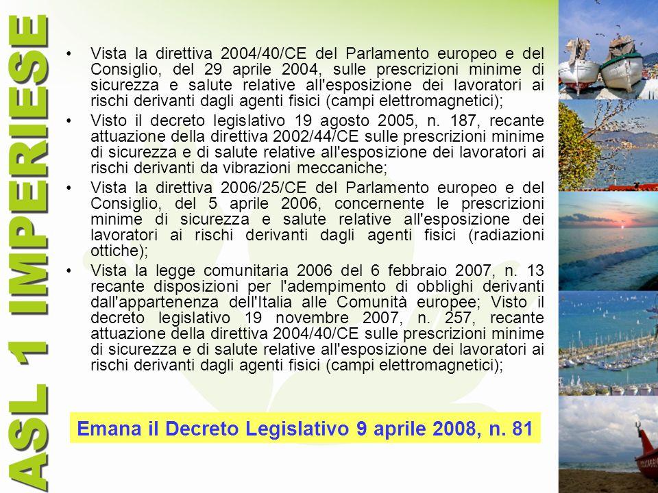 Emana il Decreto Legislativo 9 aprile 2008, n. 81