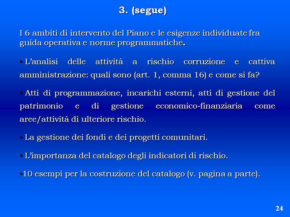 3. (segue) I 6 ambiti di intervento del Piano e le esigenze individuate fra guida operativa e norme programmatiche.