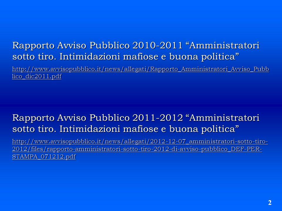 Rapporto Avviso Pubblico 2010-2011 Amministratori sotto tiro