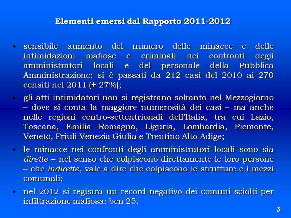 Elementi emersi dal Rapporto 2011-2012
