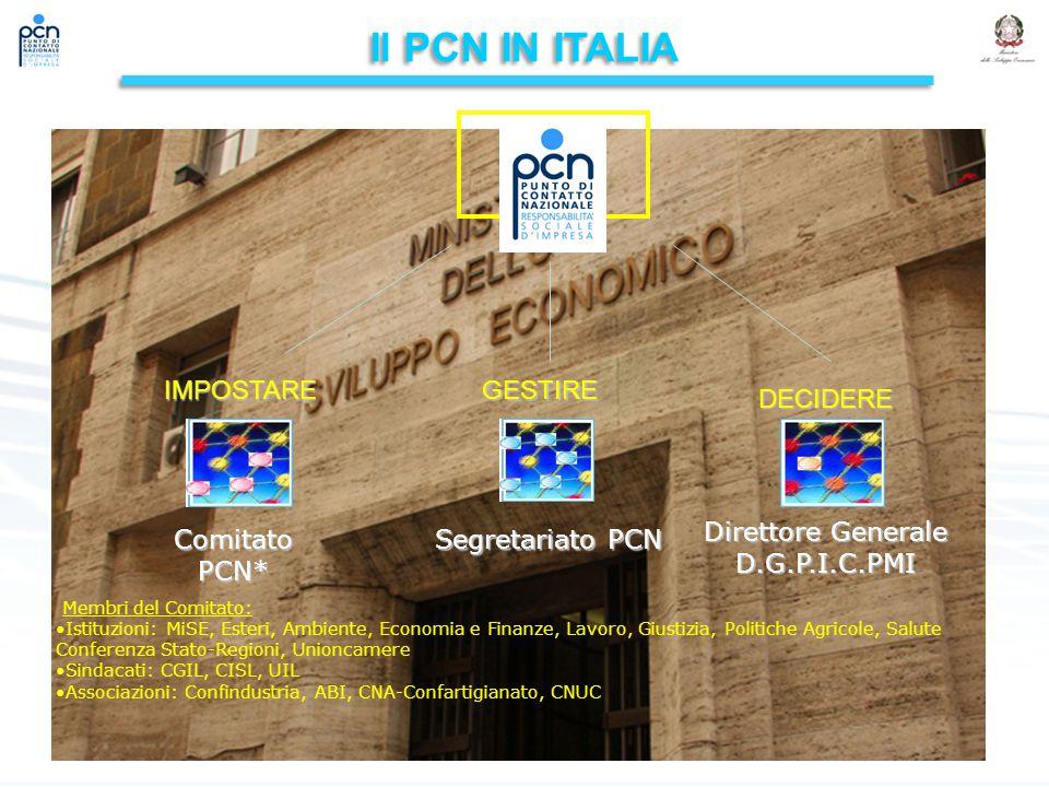 Il PCN IN ITALIA IMPOSTARE GESTIRE DECIDERE Direttore Generale