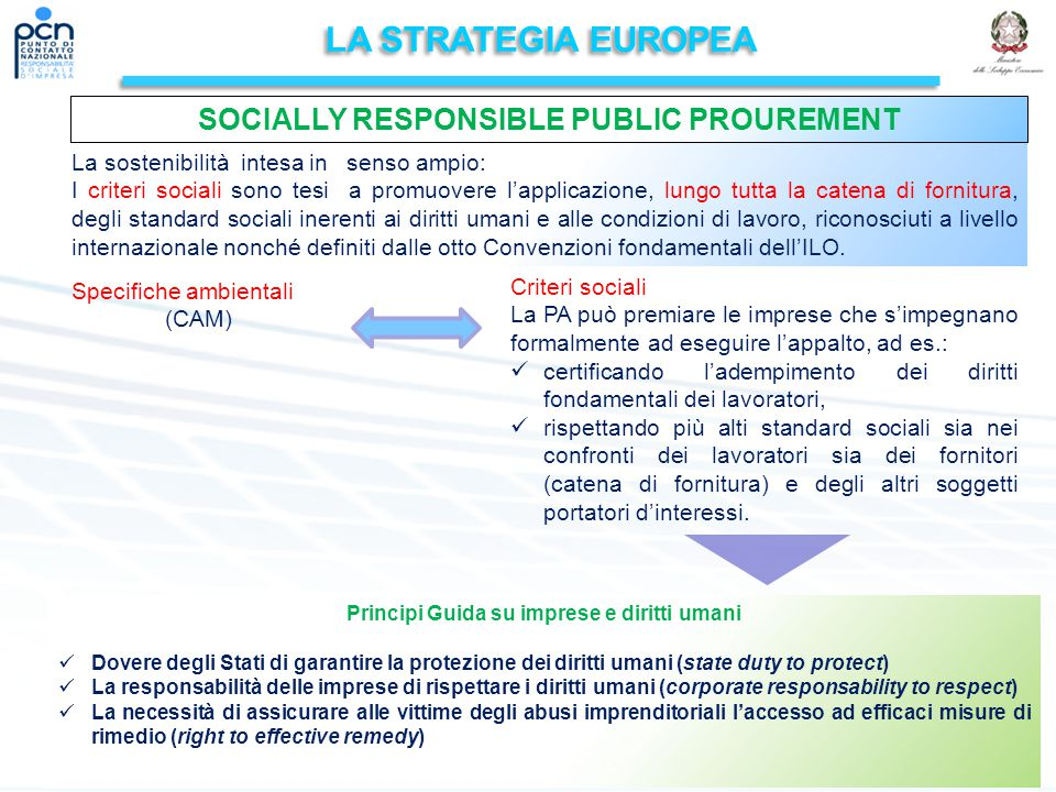 LA STRATEGIA EUROPEA SOCIALLY RESPONSIBLE PUBLIC PROUREMENT