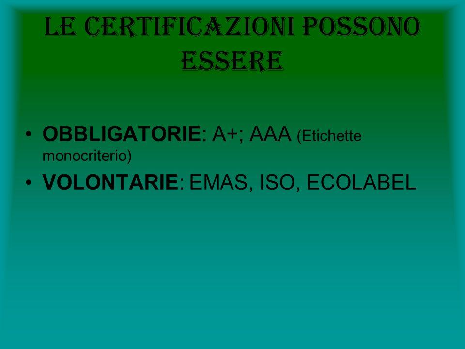 Le certificazioni possono essere
