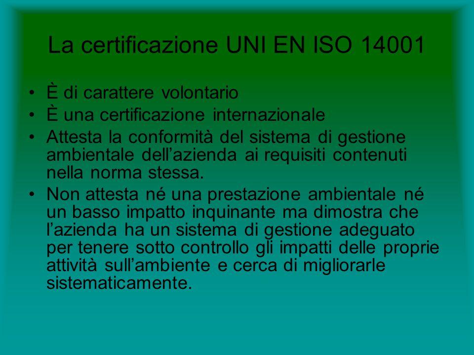 La certificazione UNI EN ISO 14001