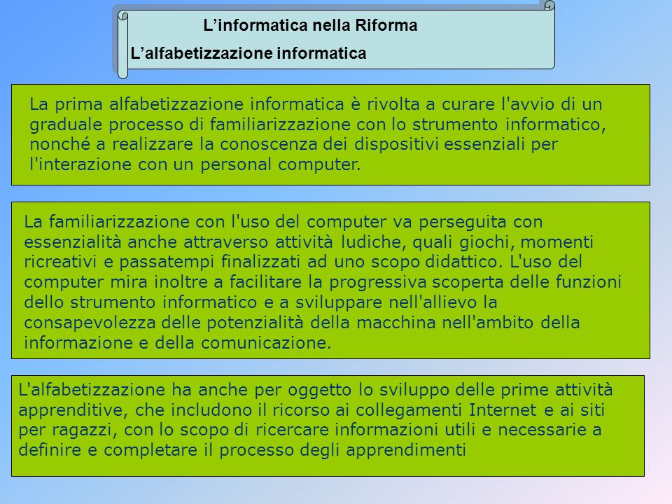 L'informatica nella Riforma