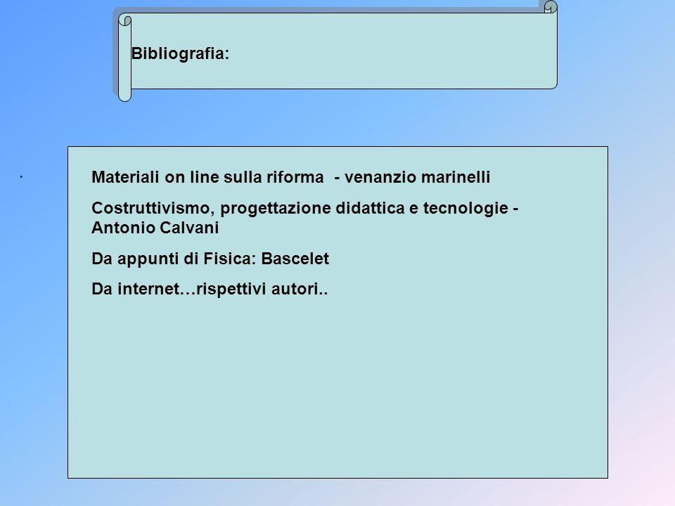 Bibliografia: . Materiali on line sulla riforma - venanzio marinelli. Costruttivismo, progettazione didattica e tecnologie - Antonio Calvani.