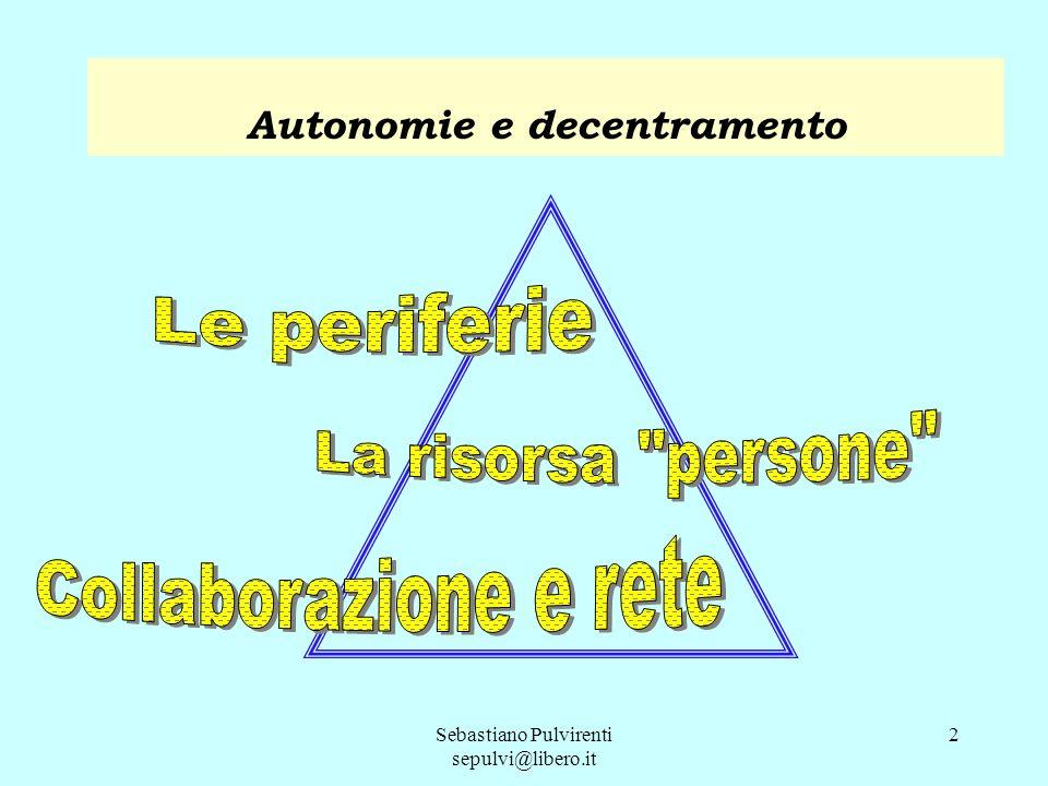 Le periferie La risorsa persone Collaborazione e rete