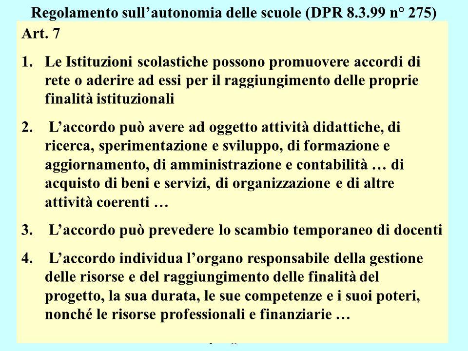 Regolamento sull'autonomia delle scuole (DPR 8.3.99 n° 275)