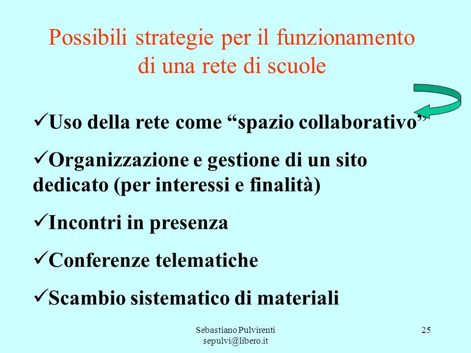 Possibili strategie per il funzionamento di una rete di scuole
