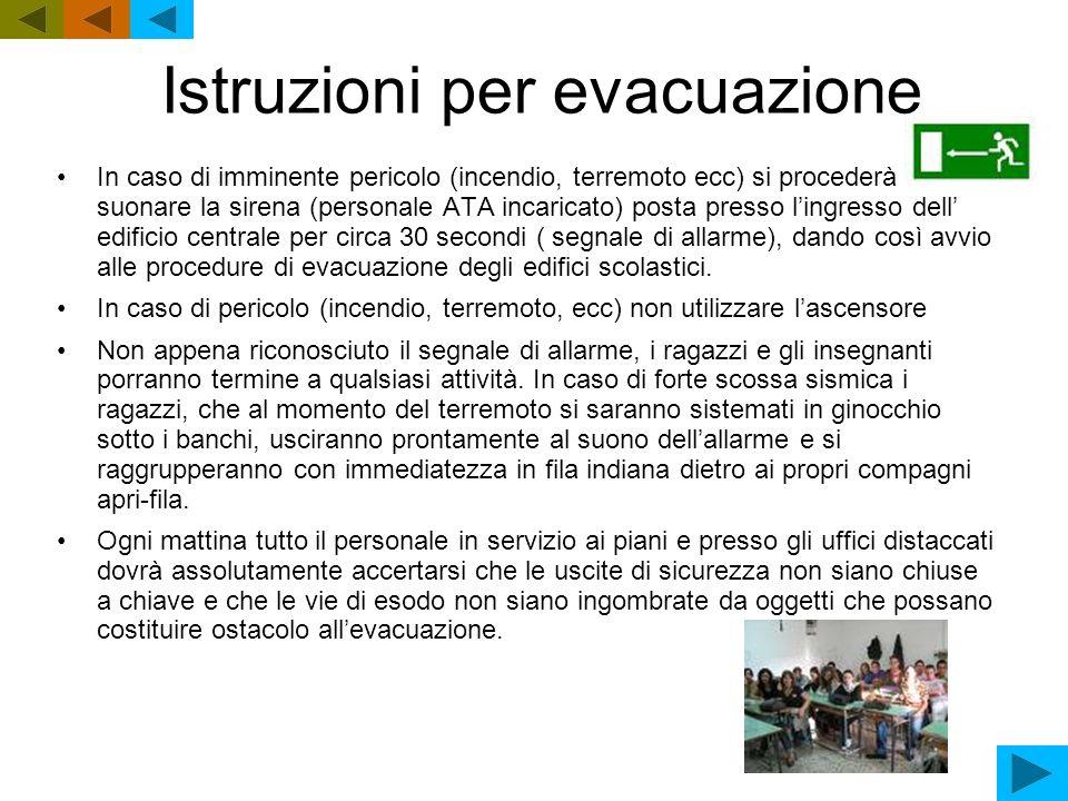 Istruzioni per evacuazione