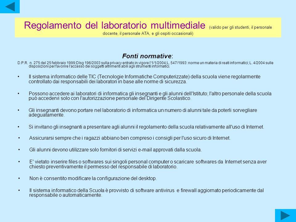 Regolamento del laboratorio multimediale (valido per gli studenti, il personale docente, il personale ATA, e gli ospiti occasionali)
