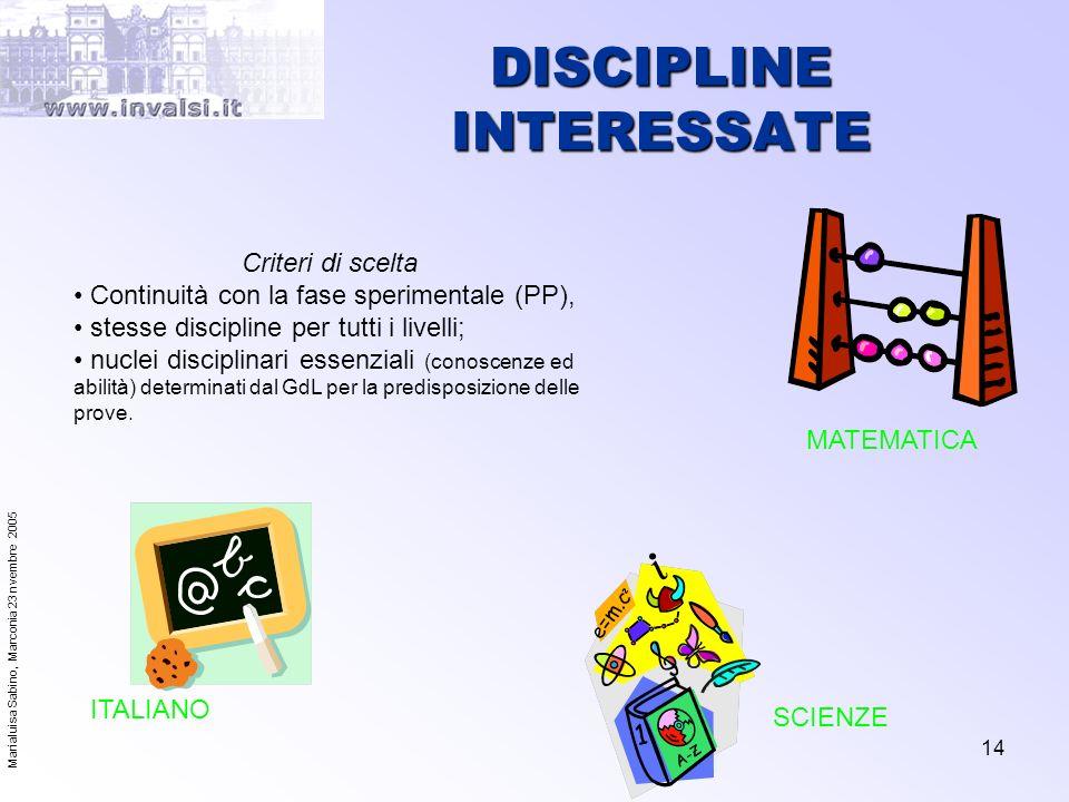 DISCIPLINE INTERESSATE