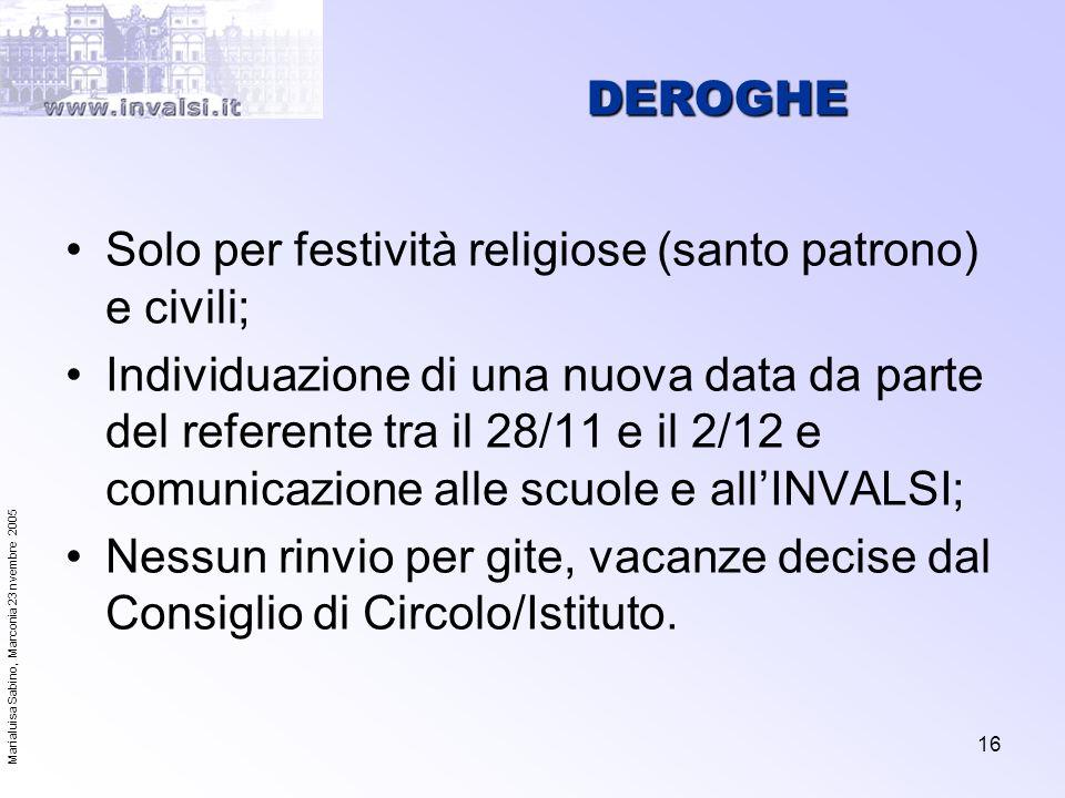 DEROGHE Solo per festività religiose (santo patrono) e civili;