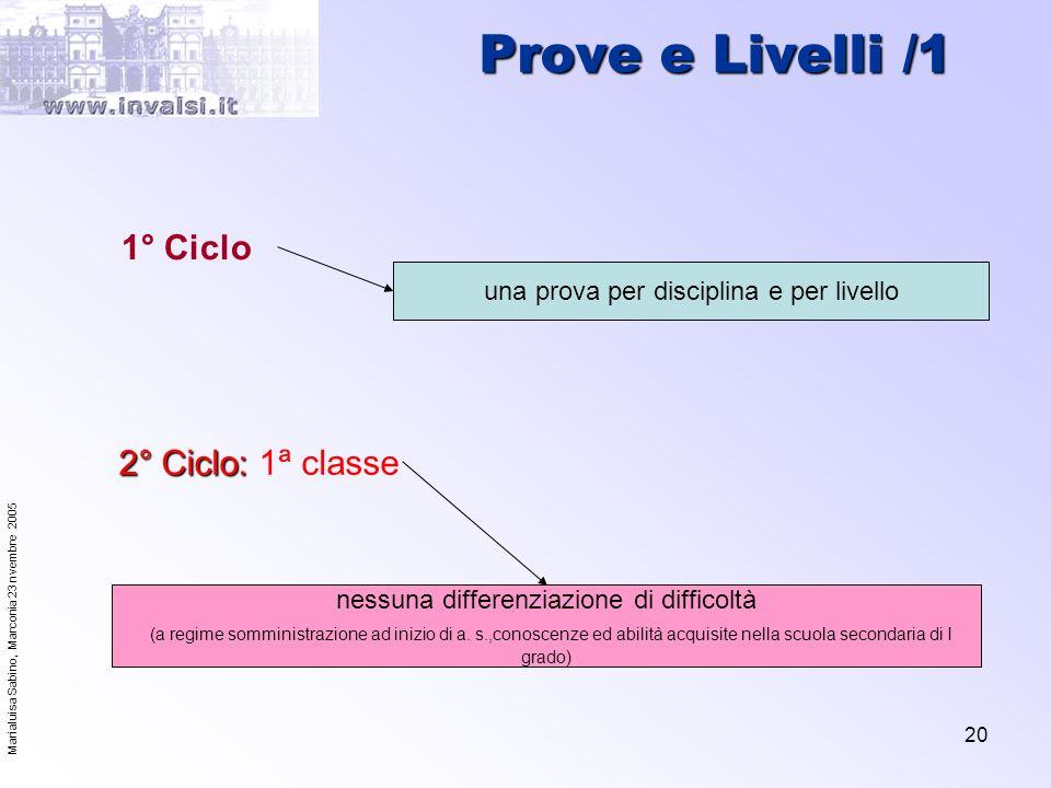 Prove e Livelli /1 1° Ciclo 2° Ciclo: 1ª classe
