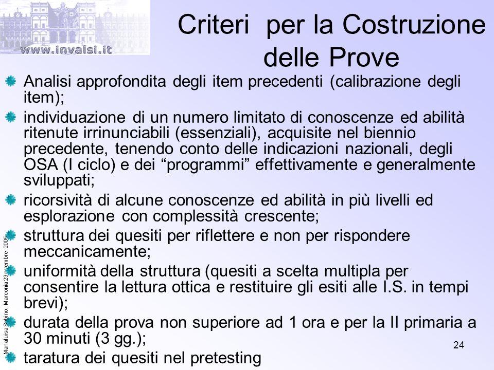 Criteri per la Costruzione delle Prove