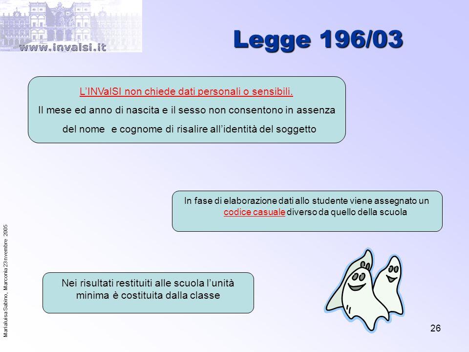 Legge 196/03 L'INValSI non chiede dati personali o sensibili.