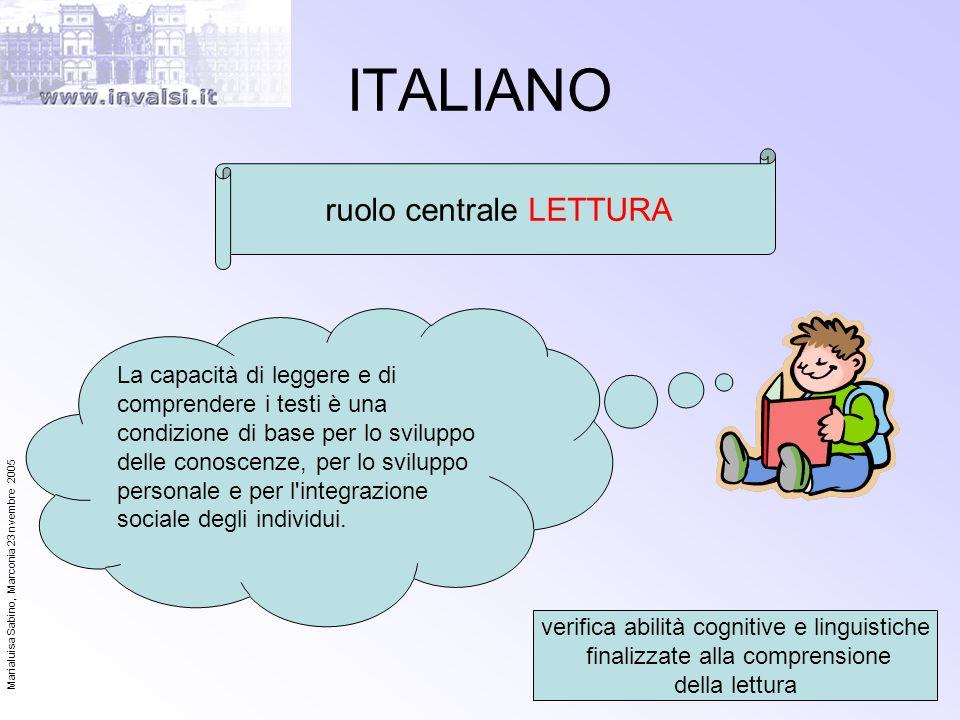 ITALIANO ruolo centrale LETTURA