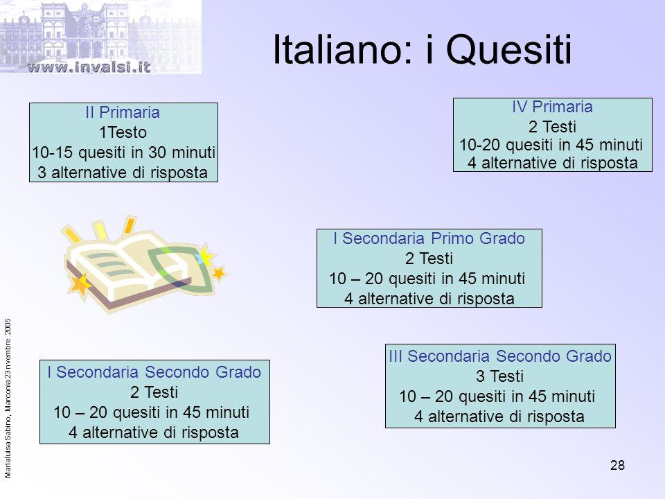 Italiano: i Quesiti IV Primaria II Primaria 2 Testi 1Testo