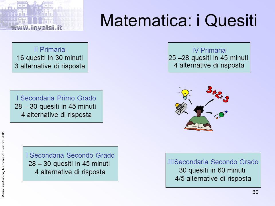 Matematica: i Quesiti II Primaria 16 quesiti in 30 minuti