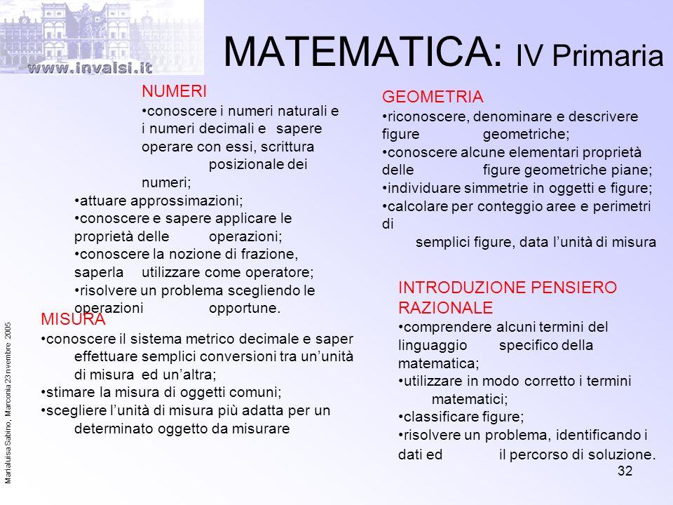 MATEMATICA: IV Primaria
