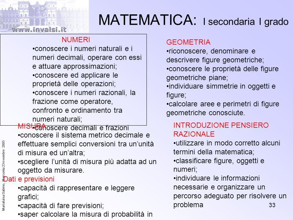 MATEMATICA: I secondaria I grado