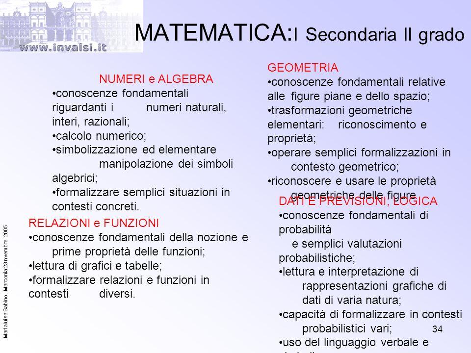 MATEMATICA:I Secondaria II grado