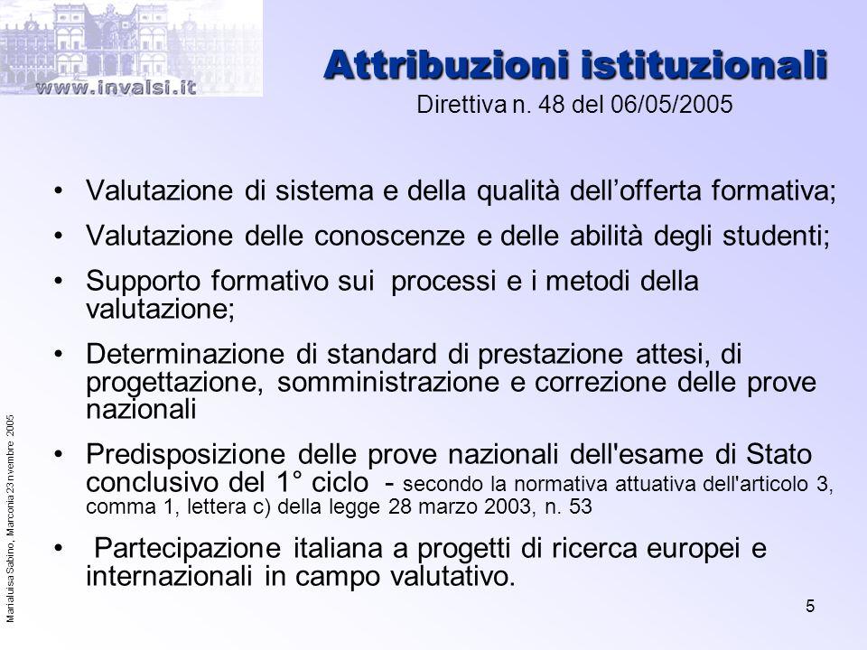 Attribuzioni istituzionali Direttiva n. 48 del 06/05/2005