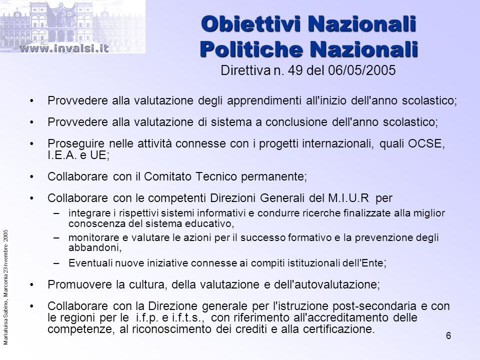 Obiettivi Nazionali Politiche Nazionali Direttiva n. 49 del 06/05/2005
