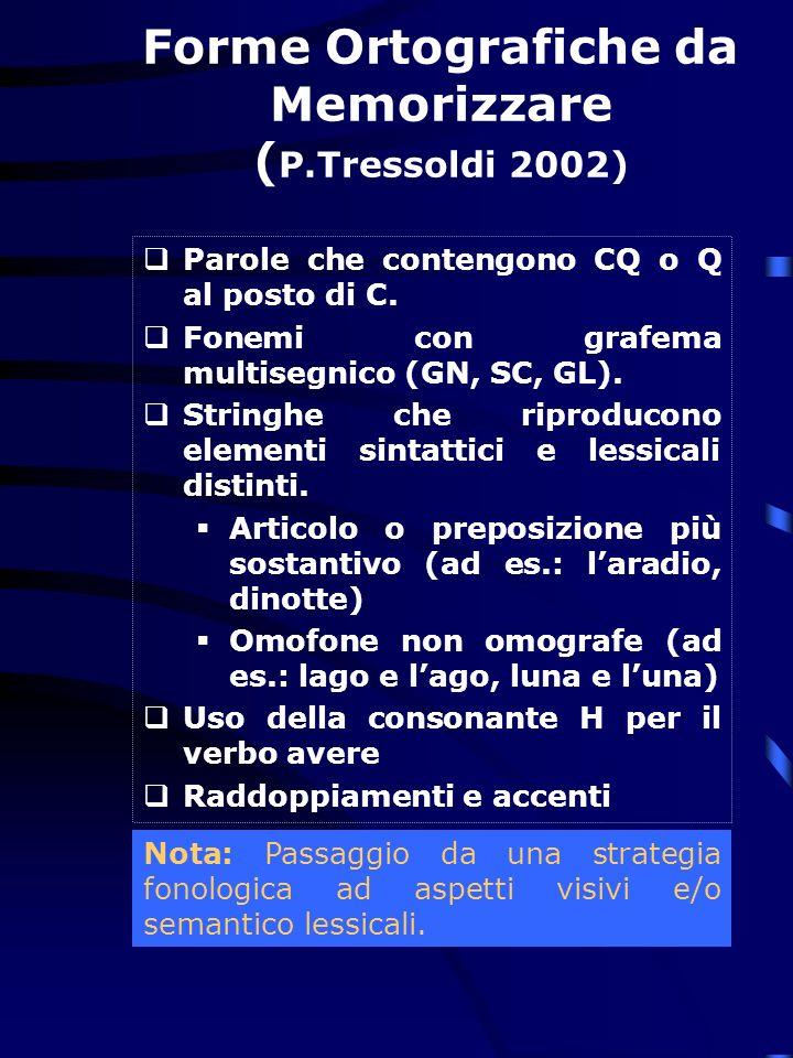 Forme Ortografiche da Memorizzare (P.Tressoldi 2002)