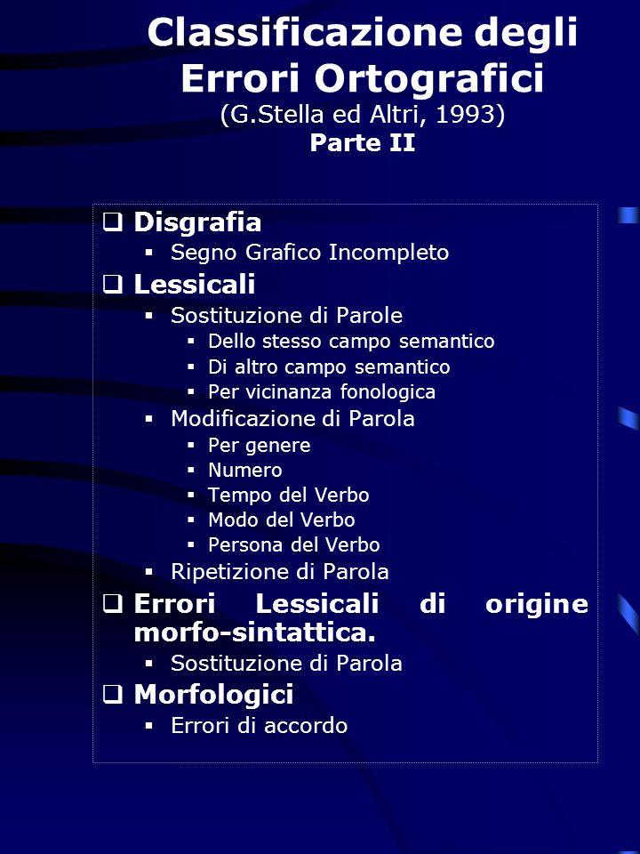 Classificazione degli Errori Ortografici (G