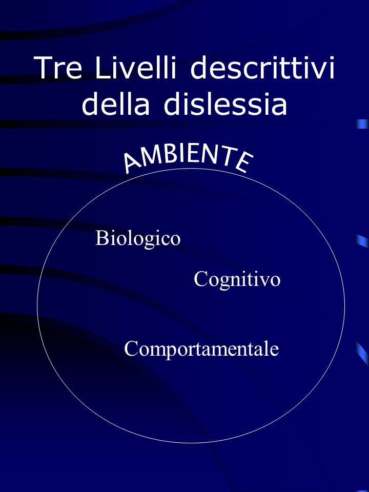 Tre Livelli descrittivi della dislessia