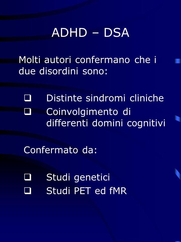 ADHD – DSA Molti autori confermano che i due disordini sono: