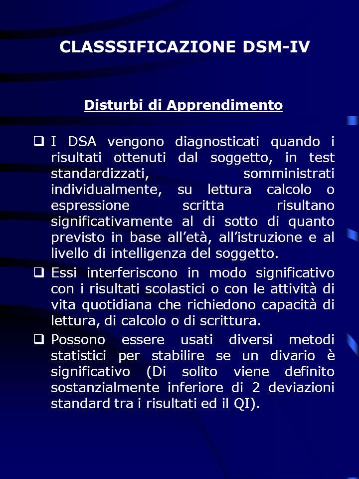 CLASSSIFICAZIONE DSM-IV