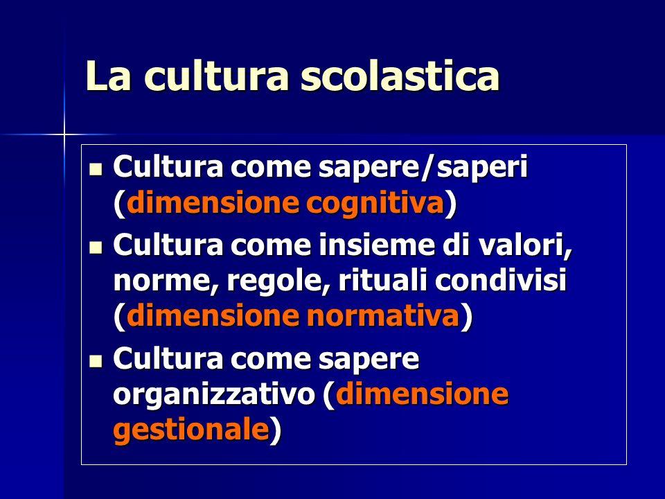La cultura scolastica Cultura come sapere/saperi (dimensione cognitiva)