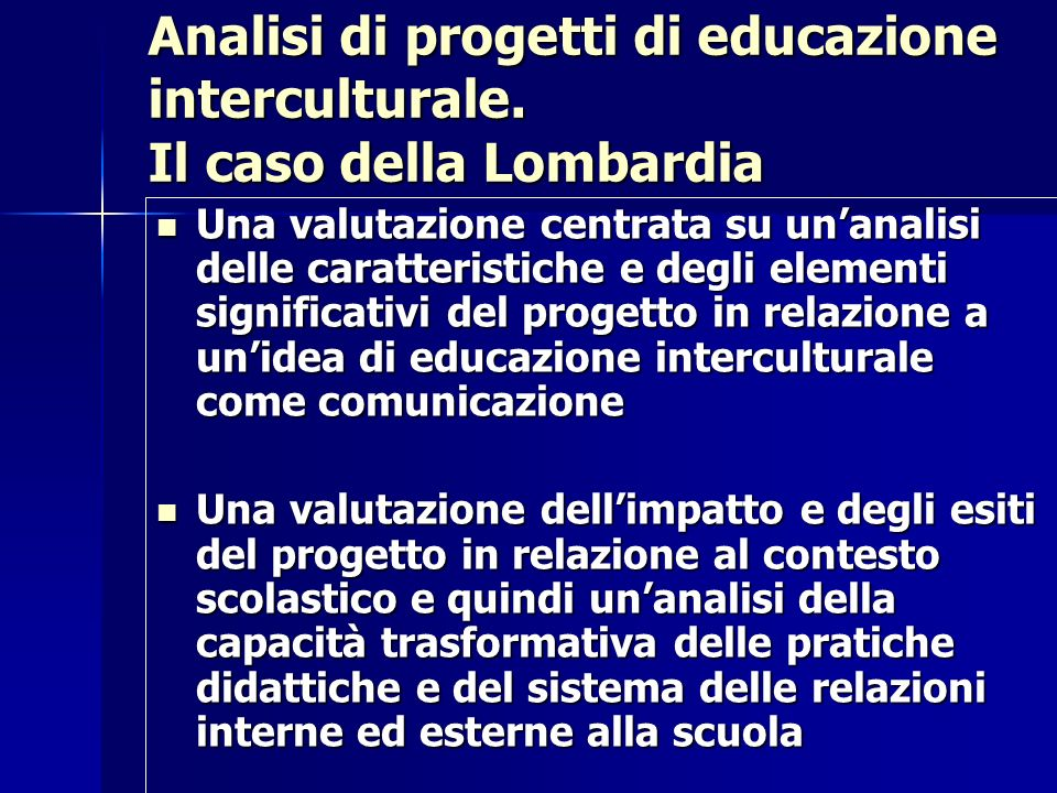 Analisi di progetti di educazione interculturale