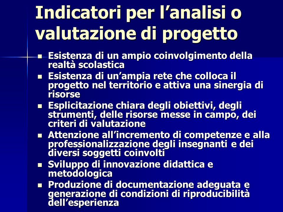 Indicatori per l'analisi o valutazione di progetto